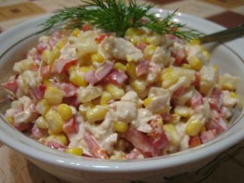 Салат из ананасов и курицы
