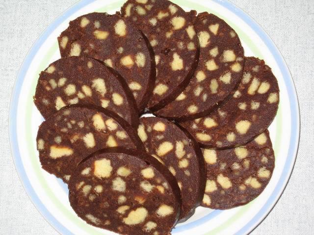 шоколадные колбаски из печенья рецепт
