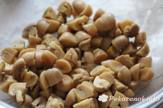 рецепт салат нежный из шампиньонов
