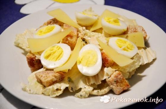 Цезарь с перепелиными яйцами